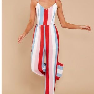 Red Multi Striped Jumpsuit